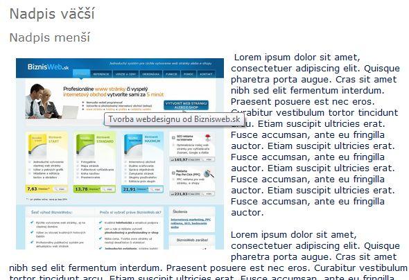 zorbazenie obrázku na web stránke